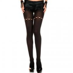 Panty Met Gaatjes Detail - Zwart