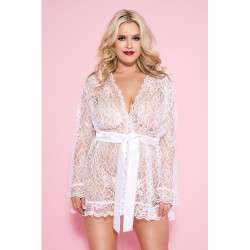 Plus Size Kanten Kimono - Wit